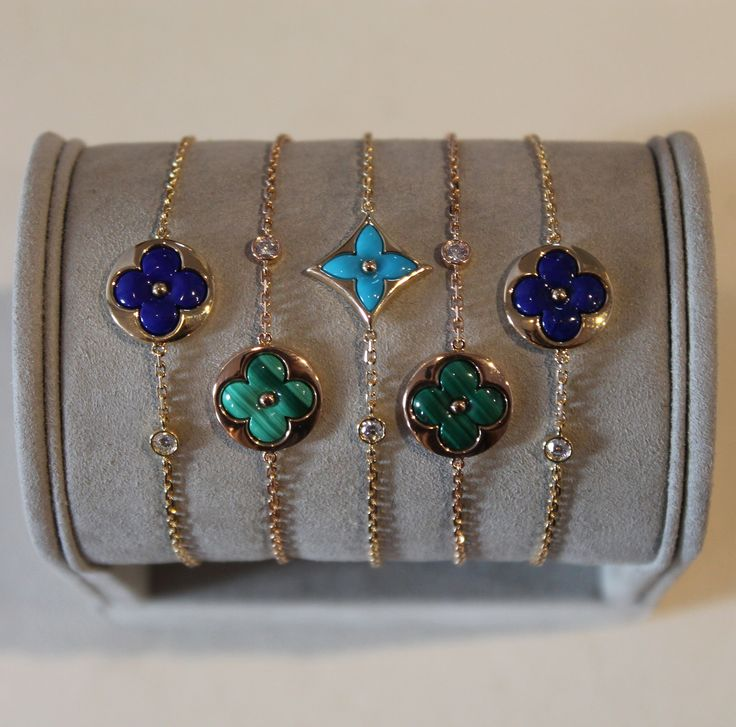 Louis Vuitton's cute and colourful Color Blossom BB bracelets with lapis lazuli, malachite and turquoise.