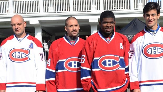 From left, Andrei Markov, Tomas Plekanec, P.K. Subban and Max Pacioretty have been named assistant captains of the Montreal Canadiens for the 2014-2015 season.