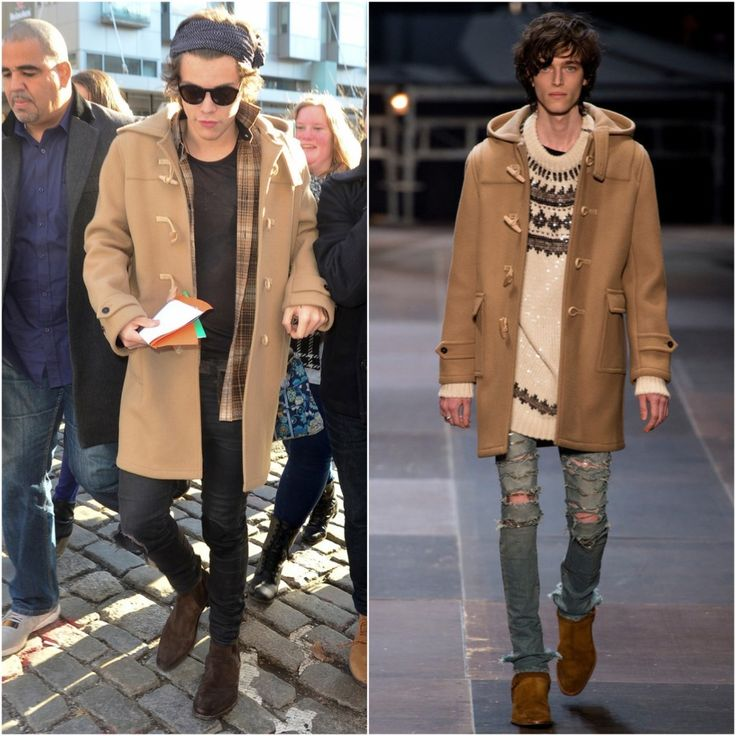 bebe ysl knockoffs - Harry Styles in Saint Laurent wool felt duffle coat #WANT ...