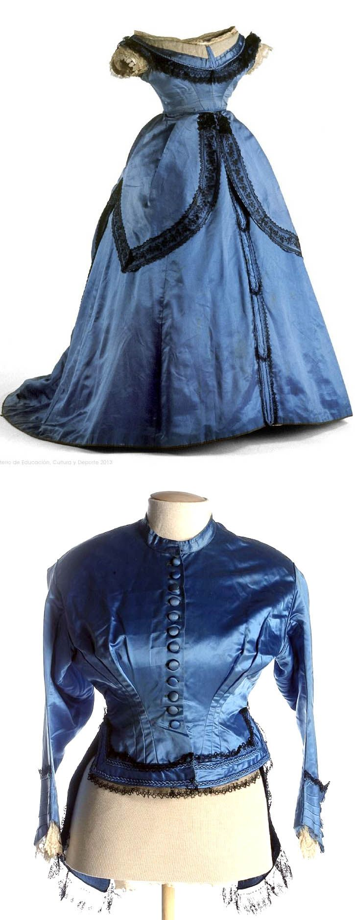 Dress, ca. 1860-65. Silk satin, batavia twill, and taffeta; mechanical lace, and double braiding. Four pieces: jacket or day bodice, evening bodice, skirt, and peplum or over-skirt. Museo del Traje