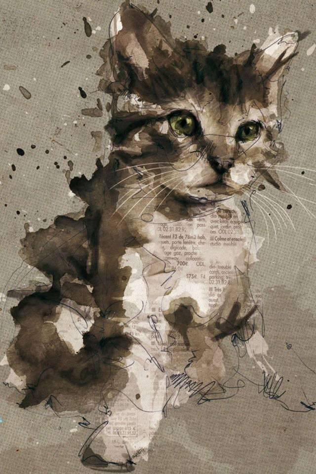 Cat Painting Mobile Wallpaper