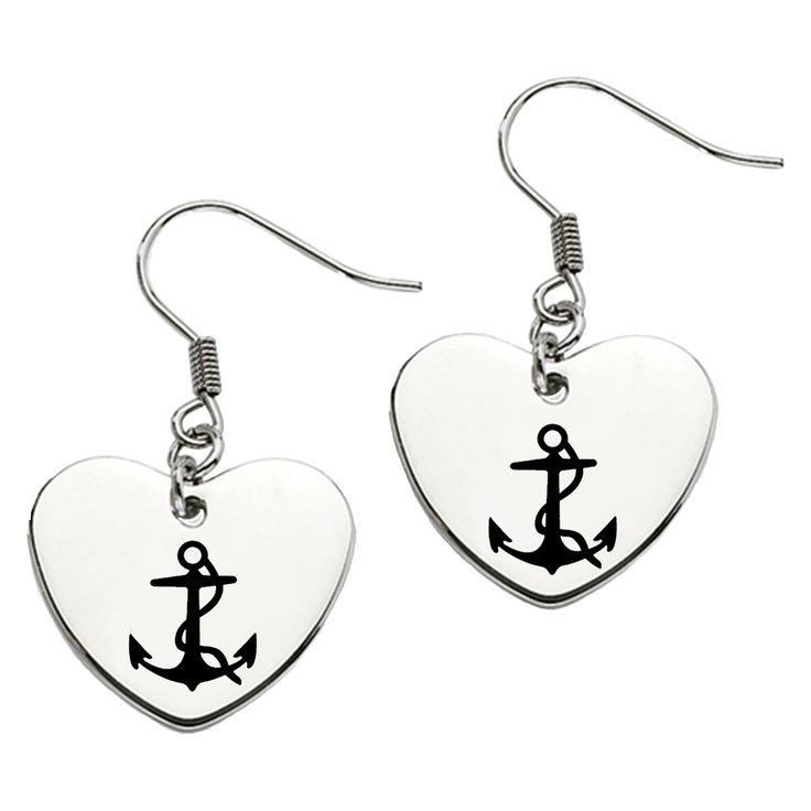 Delta Gamma Symbol Heart Shape Drop Earrings