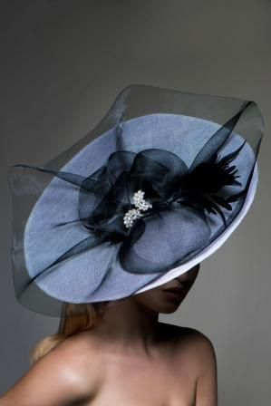 Emma Brown Couture Millinery - Amelia, White sinamay saucer fascinator with black crin & feathers. #passion4hats