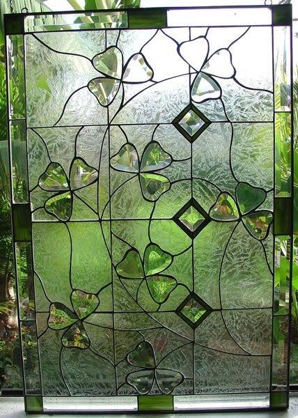 """Stainless Glass Windows : B130 Beveled Irish Shamrock Clovers 18""""x28"""" - $260… …"""