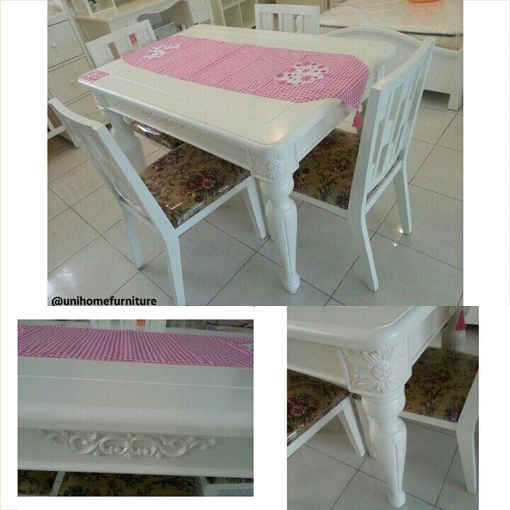 Code: Dining Table Princess ( 4kursi ) Uk P. 120 x L. 80 x T. 74cm Ready stock export to Korea.