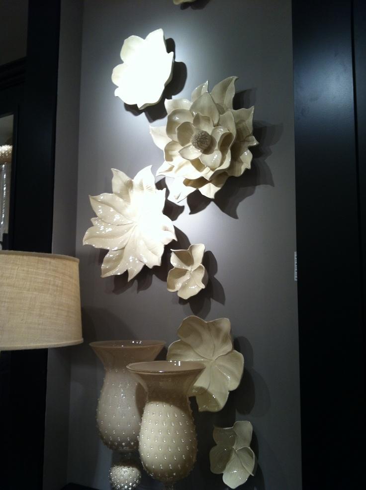 Wall Art And Decor For Living Room: Ceramic Magnolia Wall Art