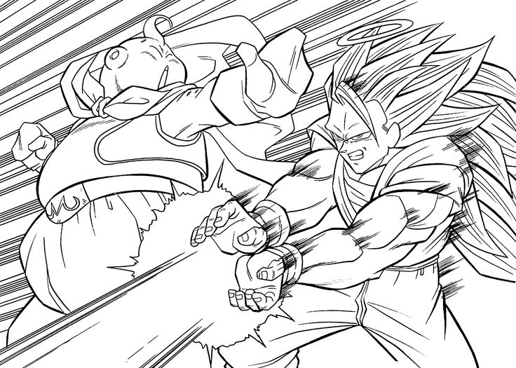 Dragon Ball Z Anime Attack Coloring Pages For Kids Printable Free