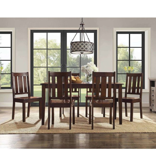 7 Piece Dining Set Table And 6 Chairs Classic Mission Style Mocha