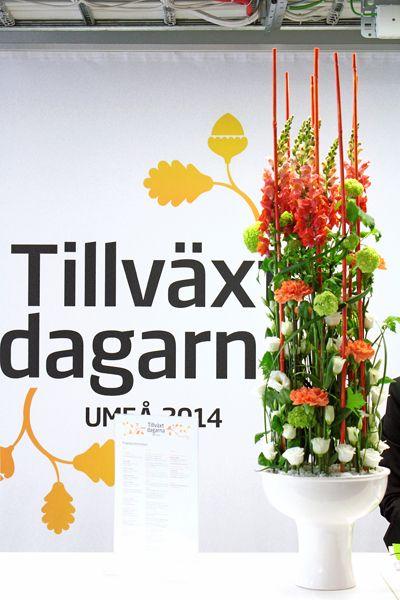 http://holmsundsblommor.blogspot.se/2014/05/tillvaxtdagarna-i-umea-2014.html Blomsterdekorationer till Swedbank, Tillväxtdagar, 2014 i Umeå