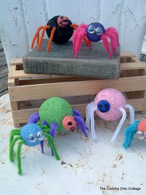 styrofoam spiders kids craft