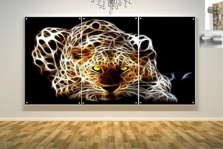 Wall Art in Floating Acrylic Glass Plexiglass Modern Art Tiger Decor 3 Panel #Modern