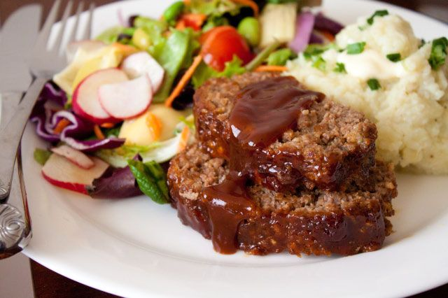 Honey Barbecue Meatloaf- ohhhhhhhhh sooooooo good! Just made this in a glass pie plate for 25 minutes at 400 so we could eat faster. Super juicy- the glaze seeps all the way through