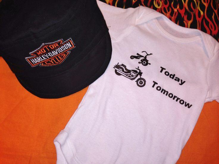 Harley Davidson Baby Hat and Onesie - Shower Gift Set. $30.00, via Etsy.