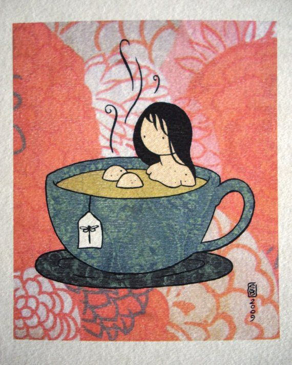 Tea Girl color print on watercolor paper by stasiab on Etsy