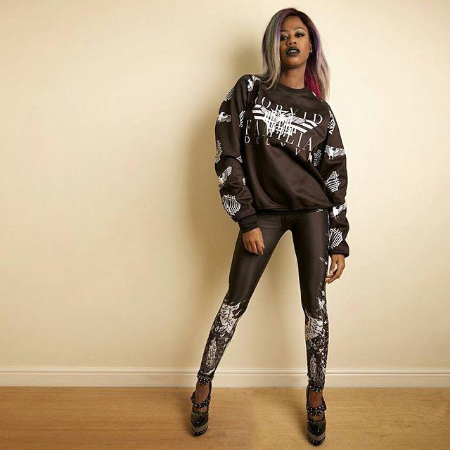"""Corvid Fam"" Raglan Sweatshirt & CRMC X @wirosatan ""Aske Til Aske"" Leggings Available at www.crmc-clothing.co.uk | WE SHIP WORLDWIDE Model - The Hot Cocoa Photography by Pix Elation #vixen #raindowhair #pastelhair #alternative #pastelgoth #blackmetal #pastelgothgirl #hairenvy #fashionista #pastelgothic #rainbow #alternativeblackgirl #blackmodel #blackgirlsrock #beautifulblackwomen #burningchurch #need #beautiful #want #darkwear #style #alternativegirl #alternativeteen #leggings #blackwear"