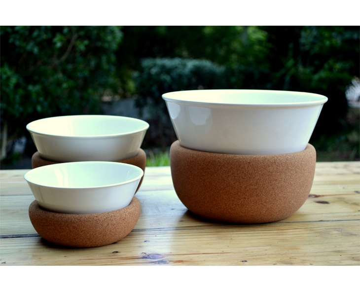 Cork and ceramic bowl set by Laurie Wiid van Heerden