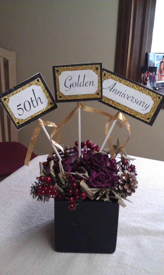 50th Anniversary Centerpiece (set of 3)  on Etsy, $15.00
