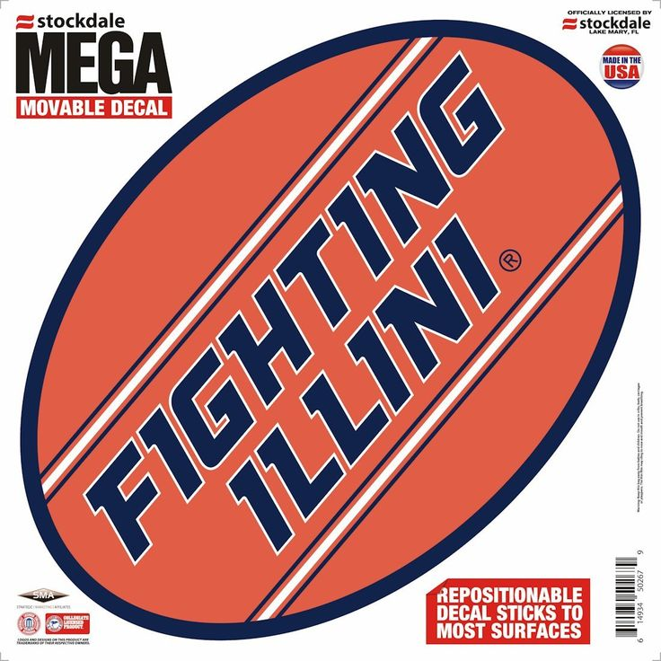 "Illinois Fighting Illini Decal - 12""x12"" Mega"