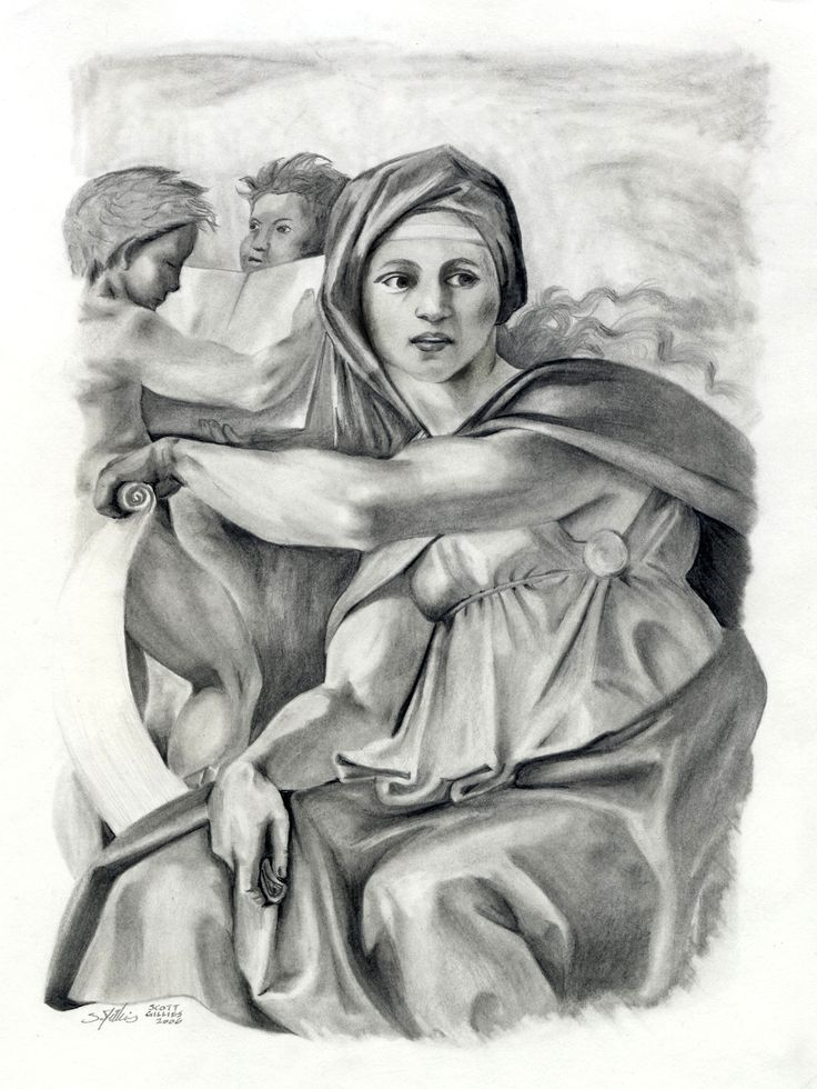 The Delphic Sybyll. Copy of Michelangelo's painting from the the ceiling of the Sistine Chapel.