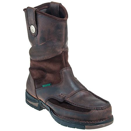 Georgia Boots Waterproof Men's Brown EH G4603 Moc Steel Toe Athens 10-Inch Wellington Boots
