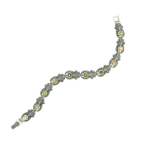 Citrine Marcasite Bracelet - Chicago Marcasite Jewellery