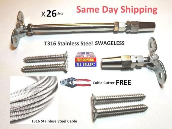 1 8 Cable Railing 316 Stainless Steel Kit 421 8 Etsy Cable Railing Railing 316 Stainless Steel