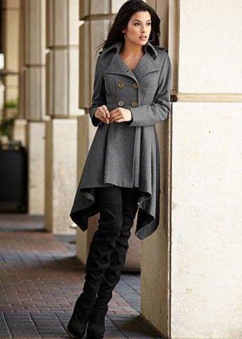 Heather Grey Double breasted coat, legging, boots from VENUS