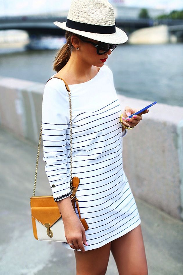 Striped quarter sleeve dress and fedora... cute summer outfit