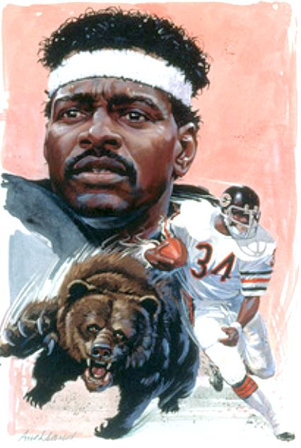 Walter Payton, Chicago Bears by Jim Auckland, c.1990.