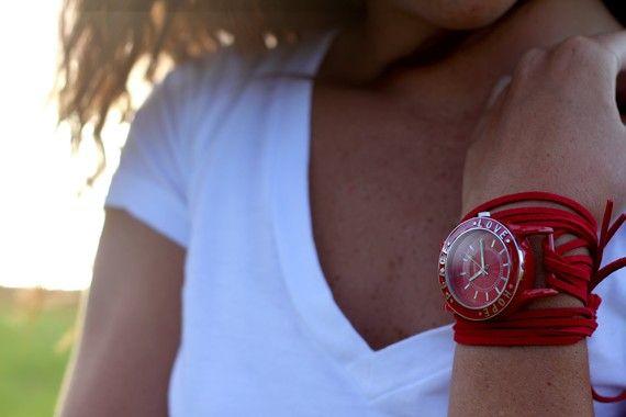 red wrap watch. love it!