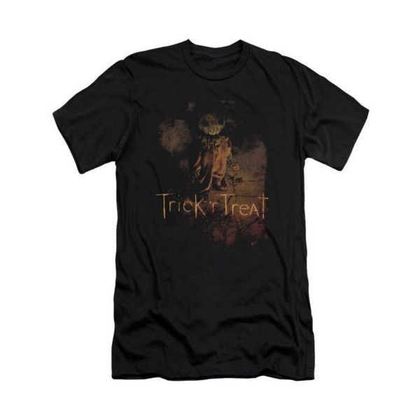 Trick 'R Treat Horror Zombie Comedy Movie Movie Poster Adult Slim... ❤ liked on Polyvore featuring tops, t-shirts, unisex tees, slim fit t shirts, slim fit tees, unisex t shirts and slim fitted t shirts