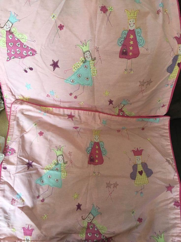Laura Ashley FUN FAIRIES PILLOW SHAMS standard size w/ hot pink piping - Set 2!  | eBay