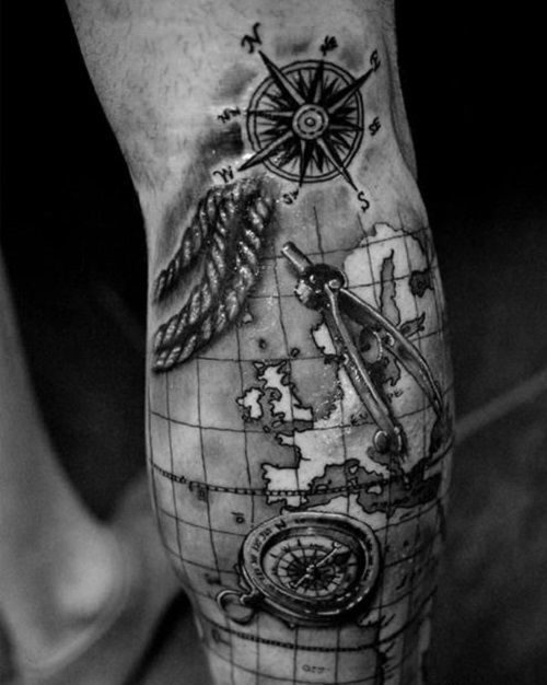 Best Compass Clock Map Tattoo Ideas Images On Pinterest - Us map with white burd tattoo