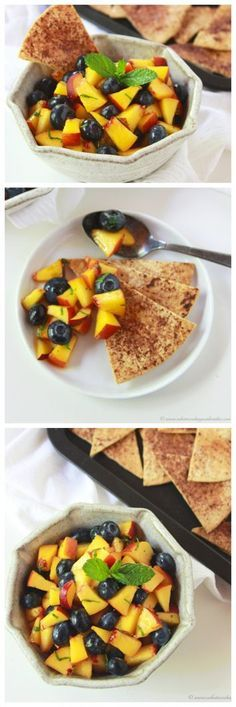 Peach Blueberry Salsa with Baked Cinnamon Tortilla Chips combines fresh picked peaches with blueberries and mint tastes amazing served with some homemade crisp Baked Cinnamon Tortilla Chips!
