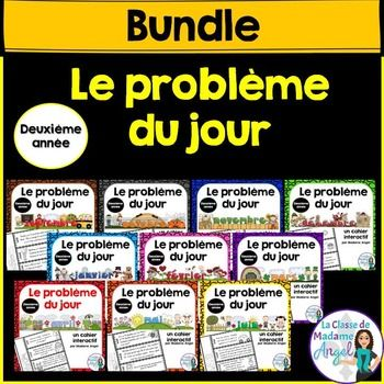 This bundle contains my popular Le problme du jour series for Grade 2!   Save 20% off the price of purchasing each product individually! That works out to buying 8 and getting the last two months free when you purchase them all together in this bundle.Each month contains 20 thematic questions covering a range of Math strands including: Money, Time, Counting, Patterning, Addition, Subtraction and Fractions.