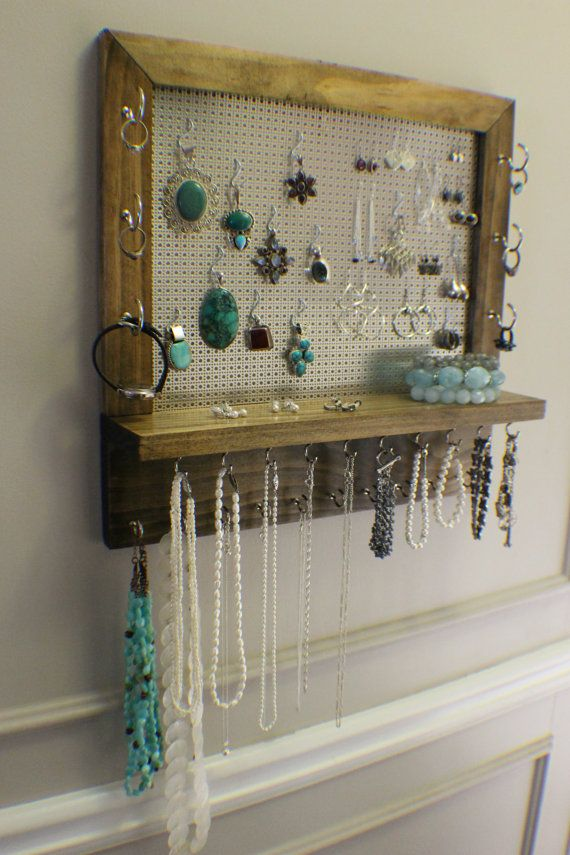 Gorgeous Ash Stained Wall Mounted Jewelry Organizer, Wall Organizer, Jewelry Display, Necklace Holder, Earring Organizer