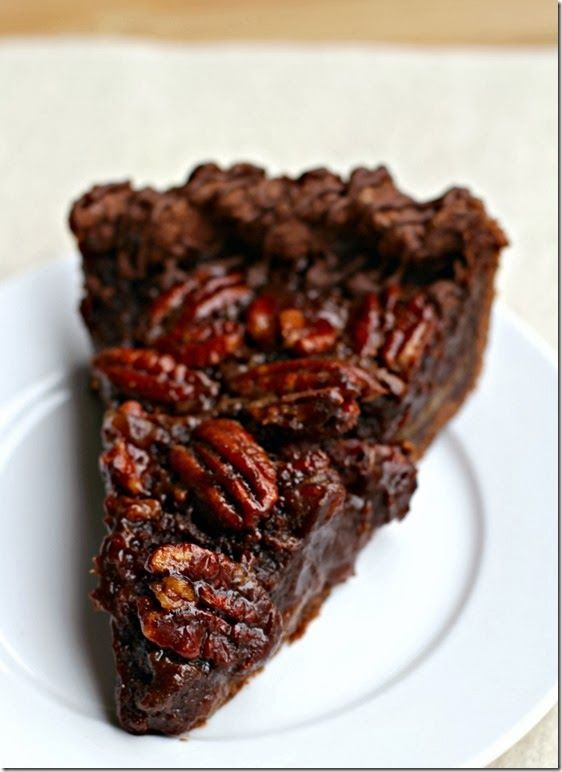 Double Chocolate Pecan Pie made with Ghirardelli Chocolate | Visions of Sugar Plum