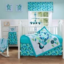 3pc Cute Floral Blue Green and White Peacock Feather Baby Girl Crib Bedding Set