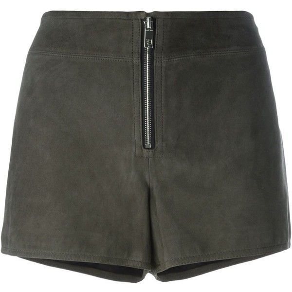 Rag & Bone Front Zip Shorts (19,330 PHP) ❤ liked on Polyvore featuring shorts, grey, rag & bone, rag bone shorts, gray shorts and grey shorts