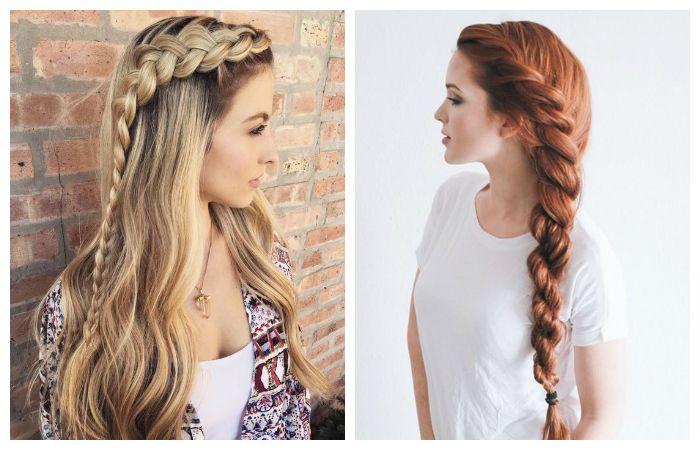 Прически с распущенными длинными волосами и плетением косы