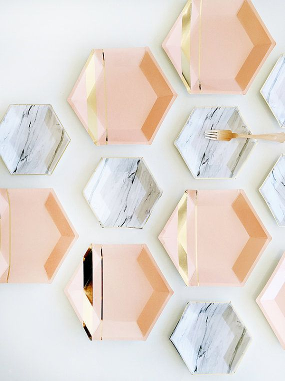Inset with gold stripes on elegant hexagon, make your guests blush while you shine. Blush, Gold Foil Paper  Approx. 10.5 Corner to Corner 8 /