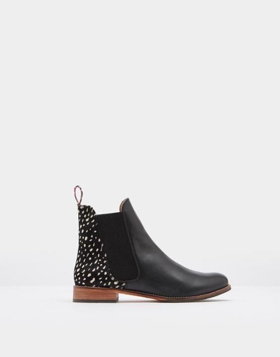 Joules US WESTBOURNE Womens Leather Chelsea Boots Black Spot EOS20 thru 10/8