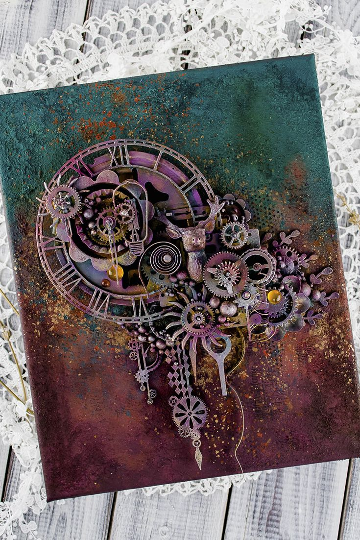 Steampunk time art, Industrial wall, Recycled clock, Deer