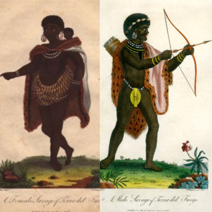 'A Male and woman Savage of Terra del Fuego', 1795. The Selk'nam and Yaghans were the native people of Tierra del Fuego. They became virtually extinct after gold was discovered in 1879, prompting large-scale immigration.
