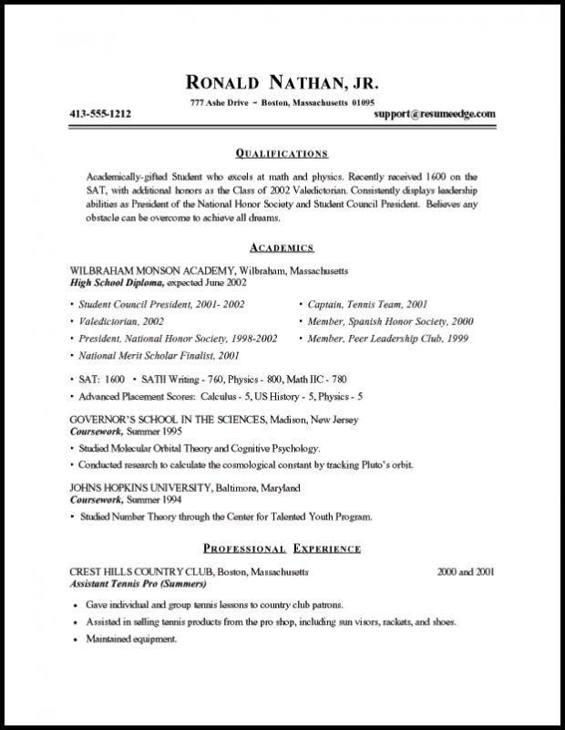 resume format for graduate school
