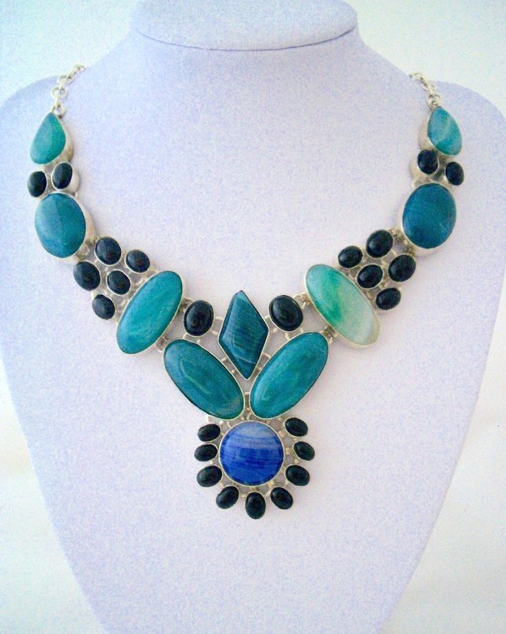 A Flower of Green Leaves, Blue Petals and Black Pollen made of Banded Agate and black Onyx, Stylish Silver-Plated Bib Necklace. by Ameogem on Etsy
