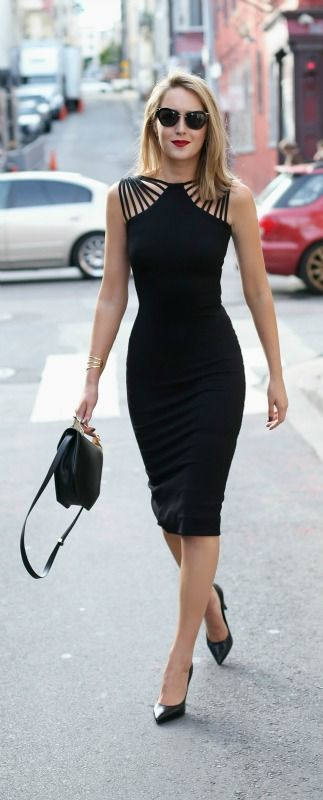 black cut-out knee length dress, black pointed toe pumps, black bag, sunglasses + red lip {dress the population, saint laurent, m2malletier, miu miu} {valentine's day outfit}