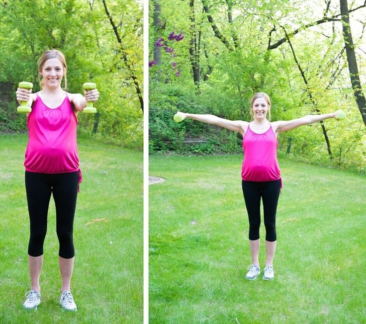 Try these dumbbell moves for a great prenatal workout.