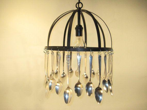 Silverware Chandelier By CottageDesigns On Etsy CanopiesRoom KitchenSpoonsAntique SilverLight FixturesPendant