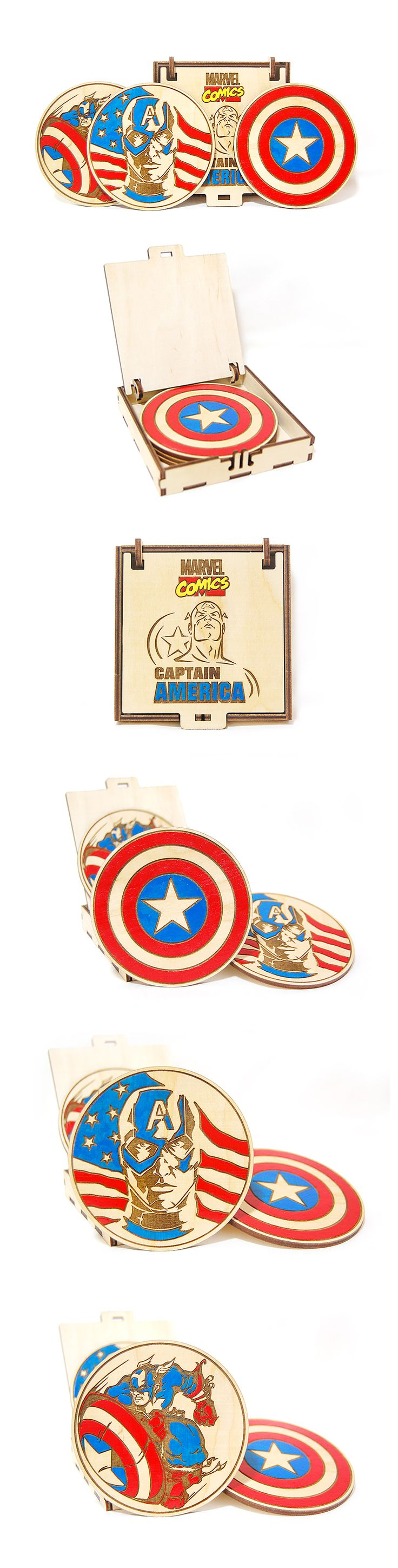Captain America Marvel wooden colored coasters set Avengers Laser engraved Superhero Gift for him Birthday gift Gift for Independence Day. #Marvel #CaptainAmerica #WoodenCoasters #Superheroes #LaserEngraved